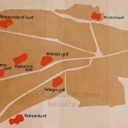 Mezőtúr sematikus térképe a legfontosabb városi agyaglelőhelyekkel